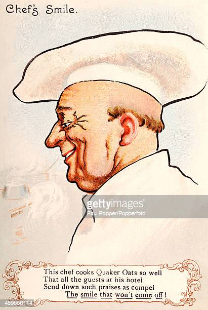 Vintage illustration featuring a smiling chef advertising Quaker Oats, circa 1930.