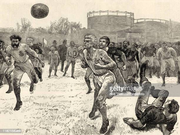 Vintage illustration featuring action during the Home Nations rugby union matches between England and Scotland at the Kennington Oval in London on...