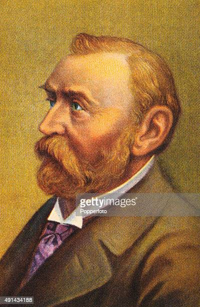 A vintage illustration featuring Alfred Nobel the Swedish chemist and armaments manufacturer after whom the Nobel Prizes were named circa 1880