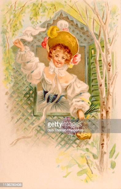Vintage illustration featuring an elegantly dressed young woman wearing an elaborate bonnet, waving a white handkerchief out of a latticed window and...