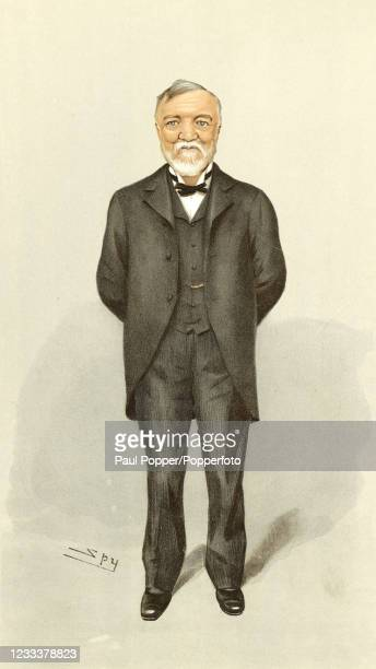 Vintage illustration featuring Andrew Carnegie, the Scottish-American industrialist and philanthropist, after an original painting by the artist...