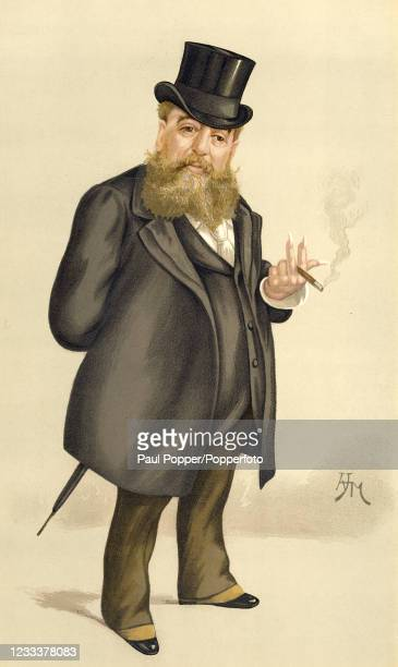 """Vintage illustration featuring Carlo Pellegrini, the Italian artist and caricaturist, known as """"Ape"""", after an original painting by the artist Arthur..."""