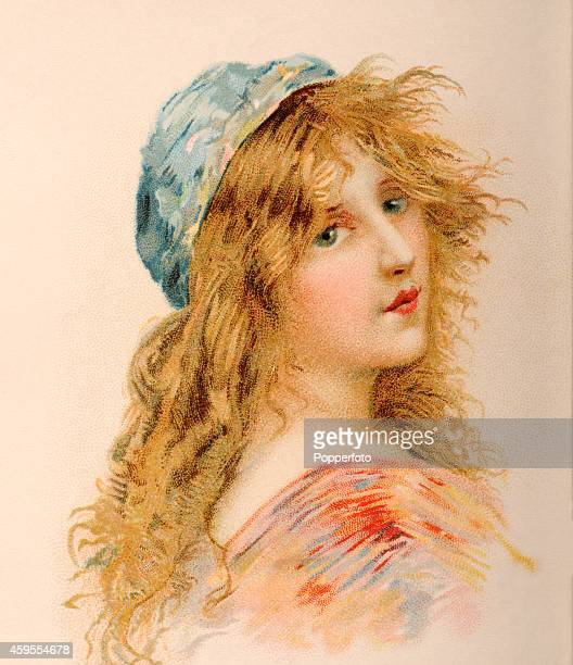 A vintage illustration featuring Cosette a principal character in Les Miserables by Victor Hugo printed in Paris circa 1904
