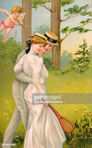 A vintage illustration featuring Cupid shooting an arrow at a young couple with their arms around each other whilst she clasps a tennis racquet in a...