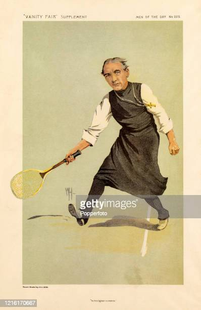 A vintage illustration featuring Dr Arthur Foley WinningtonIngram Bishop of London on the tennis court in his lighter moments published in Vanity...