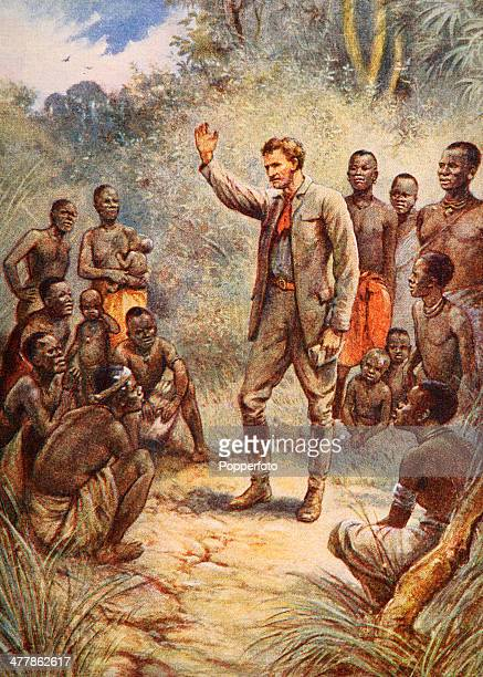 A vintage illustration featuring Dr David Livingstone the Scottish pioneer medical missionary delivering his message to African natives circa 1870