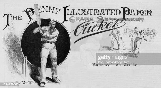 Vintage illustration featuring Dr WG Grace on the cover of The Penny Illustrated Cricket paper, published in London on 22nd June 1895.