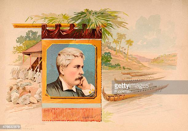 A vintage illustration featuring Henry M Stanley British journalist and explorer who found Dr David Livingstone circa 1880