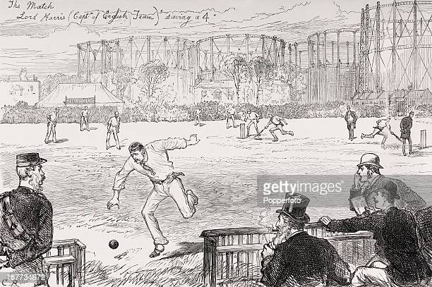 A vintage illustration featuring Lord Harris the England cricket team captain saving a four during the first Test match played in England against the...
