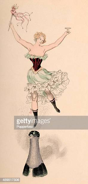 A vintage illustration featuring New Year's Eve celebrations with a scantily clad young woman floating above an open champagne bottle holding a...
