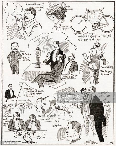 Vintage illustration featuring personalities and scenes from the Nottingham Forest Banquet, following their victory over Derby County in the English...