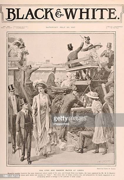 A vintage illustration featuring preparations for lunch during the Eton versus Harrow cricket match at Lord's Cricket Ground in London published on...