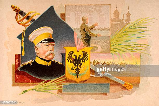 A vintage illustration featuring Prince Otto von Bismarck the first Chancellor of a united Germany circa 1880