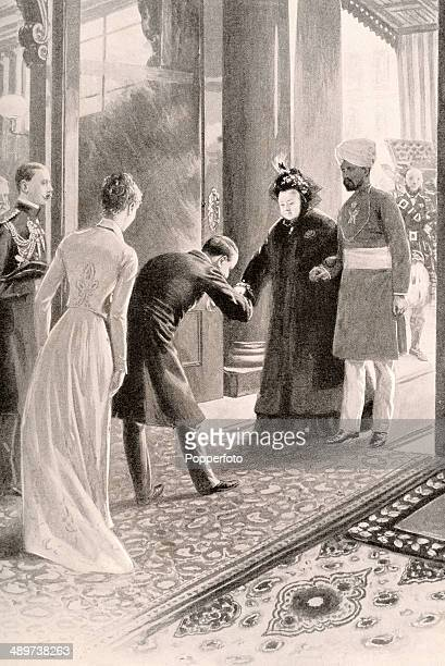 A vintage illustration featuring Queen Victoria on the arm of Abdul Karim or Munshi her Indian servant being received by the Lord Lieutenant and...