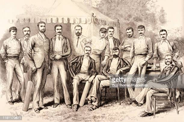 A vintage illustration featuring the Australia cricket team in England circa 1882 Left to right back row Sammy Jones Alexander Bannerman George...