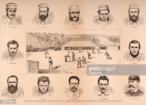 A vintage illustration featuring the cricket match between the Australia cricket team and the New Yorkers cricket team with portraits of the...