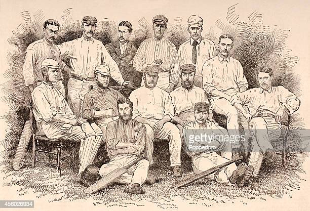 A vintage illustration featuring the England cricket team captained by James Lillywhite about to commence their tour of Australia and New Zealand...