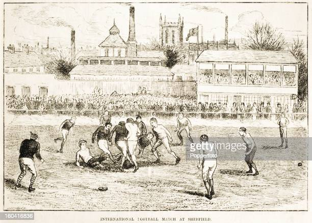 A vintage illustration featuring the England versus Scotland international football match played at Sheffield circa March 1882