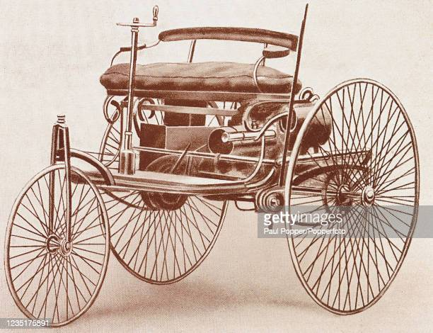 """Vintage illustration featuring the front view of a Benz Motor Tricycle of 1885, published in """"The Motor Car in the First Decade of the Twentieth..."""