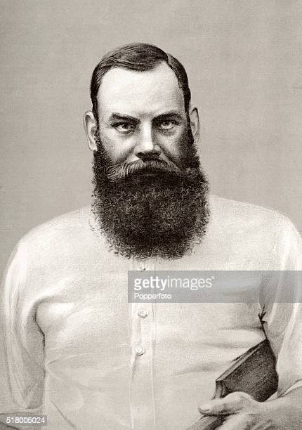 Vintage illustration featuring the Gloucestershire and England cricketer Doctor WG Grace, circa 1895.