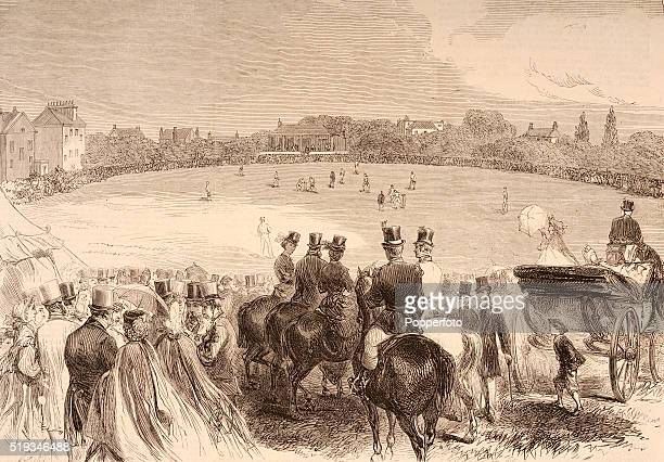 A vintage illustration featuring the Harrow versus Eton cricket match at Lord's Cricket Ground in London circa 1850