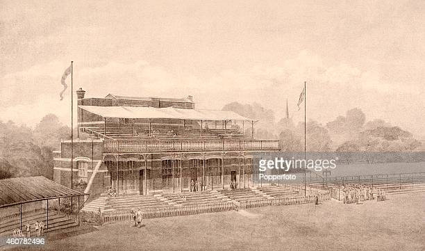 A vintage illustration featuring the Old Pavilion at Lord's Cricket Ground in London the home of the MCC circa November 1889