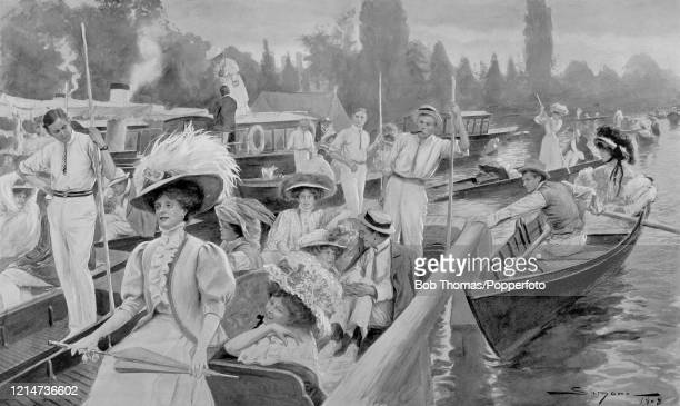 Vintage illustration featuring the scene at Boulter's Lock near Maidenhead on the River Thames, where punts and rowboats queue up on a leisurely...