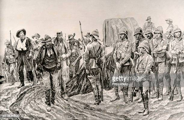 A vintage illustration featuring the surrender of Pieter Cronje and his South African Republican army troops to the British forces after the battle...
