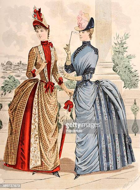 A vintage illustration featuring two fashionable ladies published in Paris circa 1890
