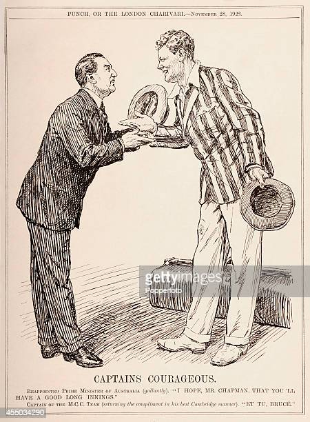 A vintage illustration from Punch magazine published in London on 28th November 1928 featuring Australia Prime Minister Stanley Bruce welcoming...