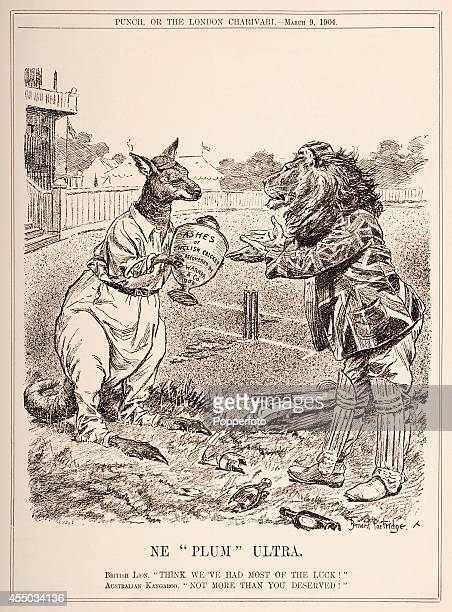 A vintage illustration from 'Punch' magazine published in London on 9th March 1904 which saw the Australia cricket team represented by a kangaroo...