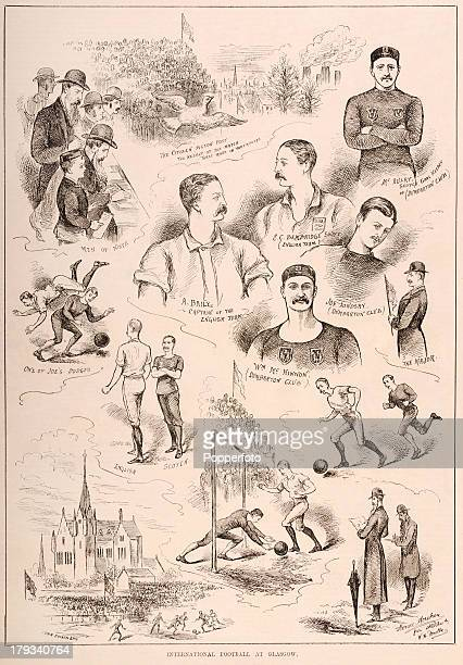 A vintage illustration from 'The Illustrated Sporting and Dramatic News' featuring scenes of 'International Football at Glasgow' including various...