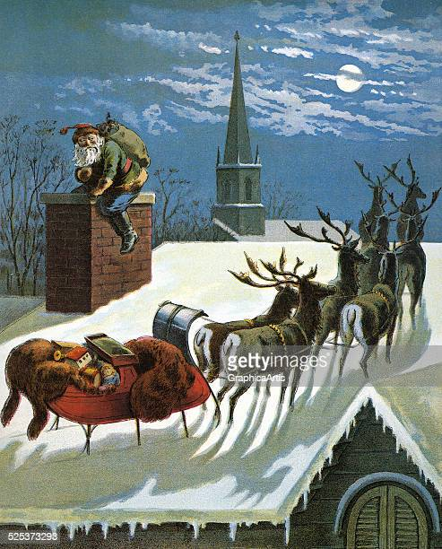 Vintage illustration from the poem 'The Night Before Christmas or a Visit from St Nicholas' of Santa's sleigh on a rooftop while Santa goes down the...