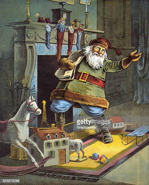 Vintage illustration from the poem 'The Night Before Christmas or a Visit from St Nicholas' of Santa delivering toys on Christmas Eve color...