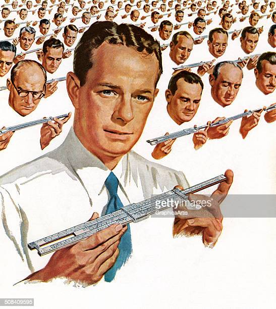 Vintage illustration of 150 engineers with their slide rules 1952 Screen print
