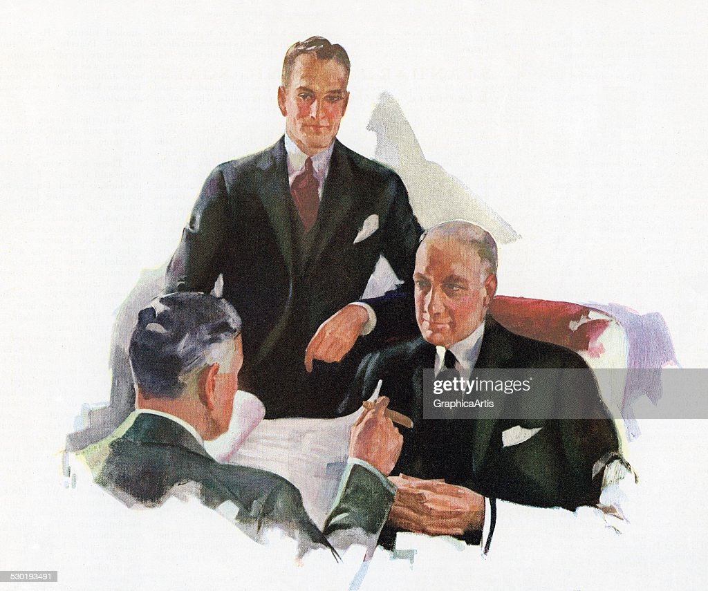 1930s Bankers Discuss Stocks : News Photo