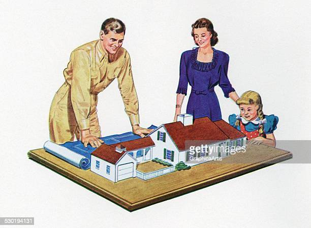Vintage illustration of a 1940s family looking at a model of their dream home 1944