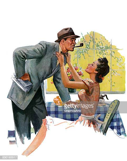 Vintage illustration of a 1940s wife adjusting her husband's tie as he leaves the breakfast table for work 1945