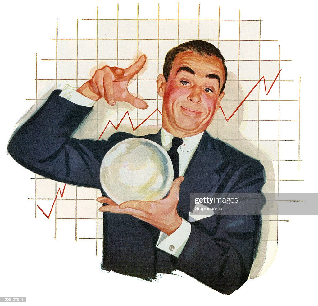 Businessman With Crystal Ball : News Photo