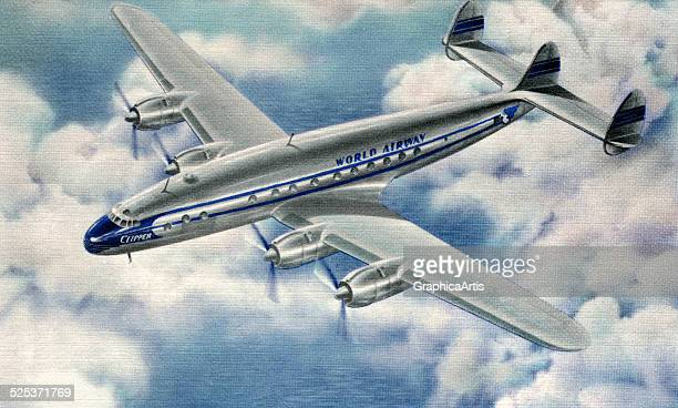 Vintage illustration of a 1950s passenger jet in flight screen print 1954