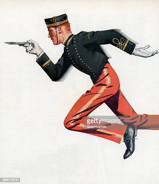 Vintage illustration of a bellboy running to serve a hotel guest screen print 1951