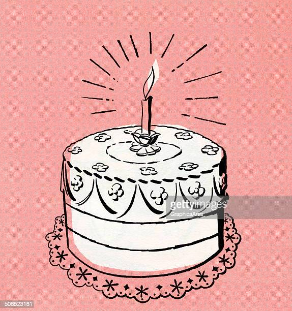 Vintage illustration of a birthday cake with a single lit candle 1951 Screen print