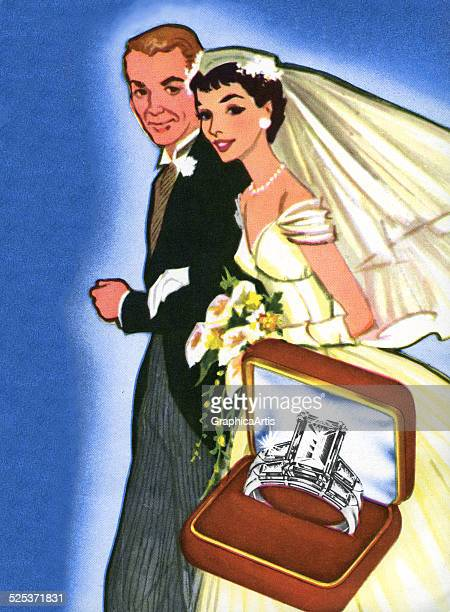 Vintage illustration of a bride and groom dressed in their wedding gown and tuxedo with a presentation box of the bride's wedding rings screen print...