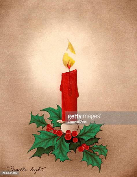 Vintage illustration of a burning Christmas candle with holly lithograph 1940s