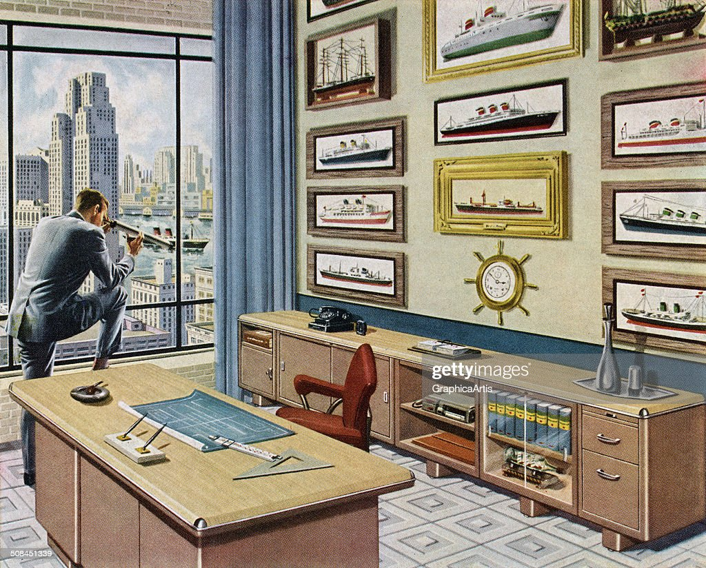 Vintage illustration of a business executive looking out the window of his lavish, nautical-themed office, 1956. Screen print.
