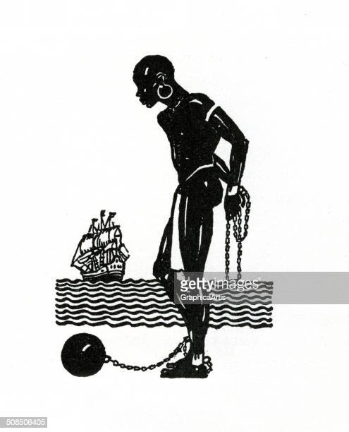 Vintage illustration of a chained African slave standing in front of a slave ship lithograph 1930
