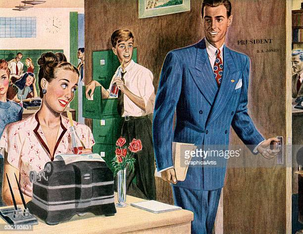 Vintage illustration of a company executive smiling at the happy workers in his busy office 1946