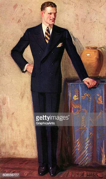 Vintage illustration of a dapper man wearing a double-breasted suit, 1925.