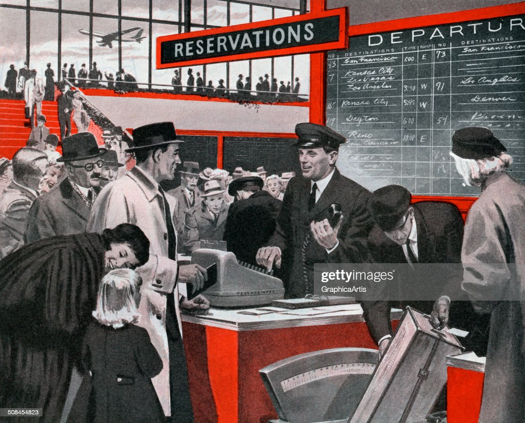 Vintage illustration of a family checking into an airline ticket counter or reservation desk at the airport, 1958. Screen print.