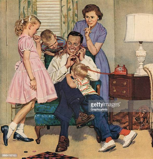 Vintage illustration of a family in their living room staying quiet while the man of the house is talking on the telephone screen print 1952